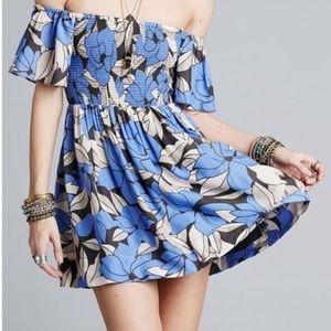Free People Louise Floral Off Shoulder Mini Dress